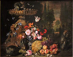 Still life of Fruit and Flowers with Animals