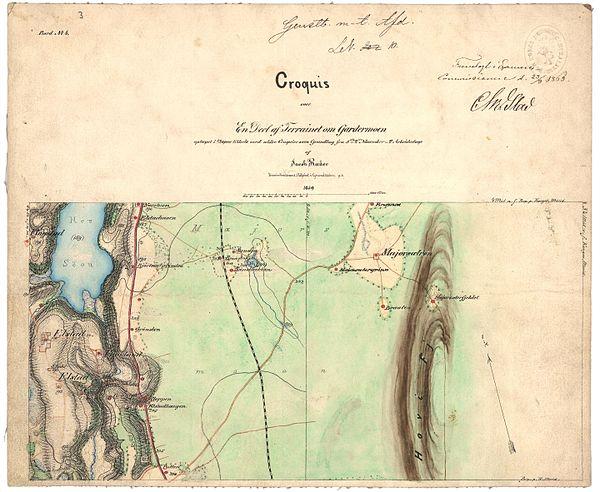 600px akershus amt nr 109 4  krokier til romerikskartene%2c 1859