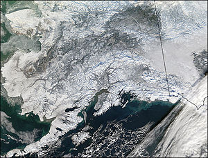 Outline of Alaska - A satellite photo of Alaska during winter.