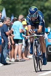Valverde impegnato in una cronometro del Tour de France 2012