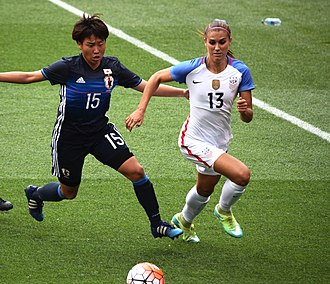 Alex Morgan - Morgan outrunning a defender during a match against Japan in Cleveland on June 5, 2016