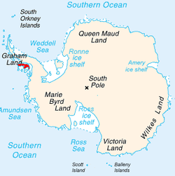 Alexander Island shown within Antarctica