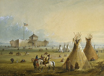 The first Fort Laramie as it looked before 1840 (painting from memory by Alfred Jacob Miller) Alfred Jacob Miller - Fort Laramie - Walters 37194049.jpg