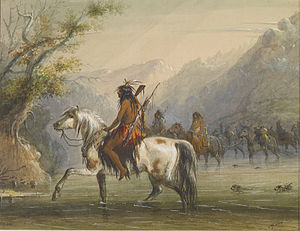 Alfred Jacob Miller - Shoshonee -sic- Indians - Fording a River - Walters 371940128.jpg