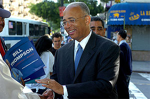 Bill Thompson (New York politician) - Democratic Nominee Bill Thompson campaigning on primary day