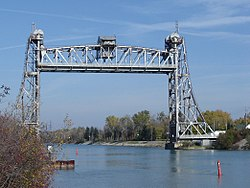 The lift bridge in Allanburg raised to allow passage for a ship.