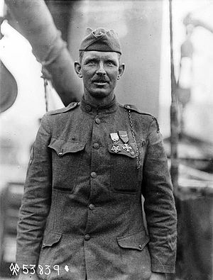 SS Ohioan (1914) - Sergeant Alvin York at his press conference held on board USS Ohioan upon arrival in New York, 22 May 1919