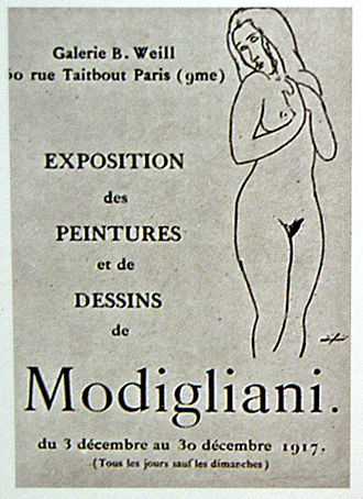 Berthe Weill - Leaflet for Modigliani's only one-man exhibition, held at Galerie Berthe Weill in 1917. The exhibition was closed by the police on grounds of nudity