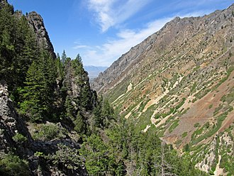 American Fork Canyon - View down canyon to Utah Valley from the entrance of Timpanogos Cave