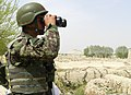 An Afghan National Army soldier with the 1st Brigade, 205th Corps scans the horizon for enemy forces during operations in Sperwan, Panjwai district, Afghanistan, April 1, 2012 120401-A-OR326-016.jpg
