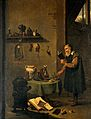 An alchemist in his laboratory. Oil painting by a follower o Wellcome V0017632.jpg