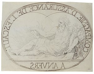 Design for an oval platter with the river god Scaldis