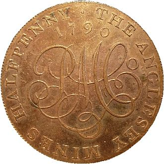 Mint (facility) - Boulton 1790 Anglesey halfpenny; the first coin struck by steam power in a collar to assure roundness