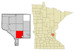 Location of the city of Blaine within Anoka County, Minnesota