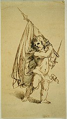 Putto with flag and sword