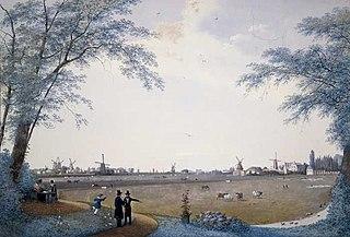Polderlandschap te Hillegersberg, op achtergrond vele molens en schepen