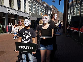 Anonymous (group) - Anonymous for the voiceless at a protest for veganism in the Netherlands, June 2018.