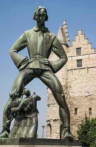 Lange Wapper - The statue De Lange Wapper in front of castle Het Steen in Antwerp