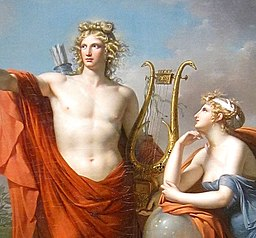 Apolo y Urania . Apollo, God of Light, Eloquence, Poetry and the Fine Arts with Urania, Muse of Astronomy - Charles Meynier (cropped)