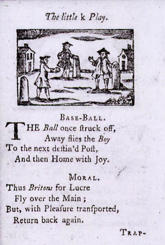 Origins of baseball - Woodcut from the 1744 British children's book A Little Pretty Pocket-Book, showing rounders posts and the first reference to baseball