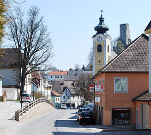 Village center and castle from the west