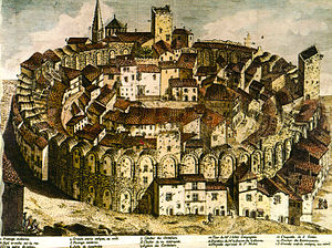 Roman amphitheatre - The Arles Amphitheatre as a fortified settlement, 18th-century engraving