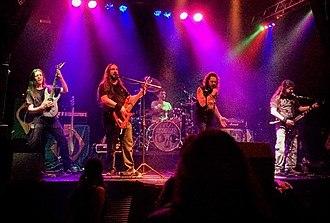 Armahda - The band live in 2015. From left to right: Alexandre Dantas, Paulo Chopps, João Pires, Maurício Guimarães and Renato Domingos.