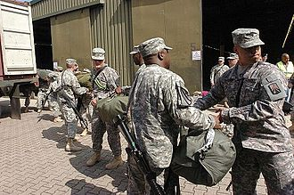 16th Sustainment Brigade - The brigade loads gear for a deployment to Iraq.