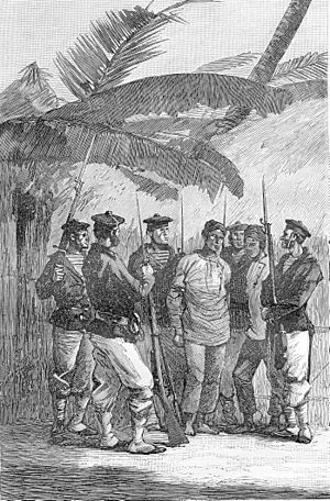 Pacification of Tonkin - French sailors arrest a suspected pirate chief in a Tonkinese village, 1886