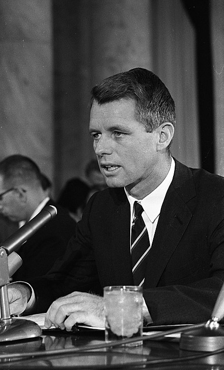 Robert Kennedy testifying before the Senate Committee on Government Operations' Permanent Subcommittee on Investigations about organized crime, September 1963 Attorney General Robert Kennedy testifying before a Senate subcommittee hearing on crime.jpg