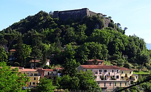 Aulla - The walls of the Brunella Fortress above Aulla