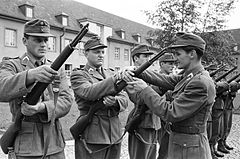 Troops of predecessor organisation B-Gendarmerie training with M1 Garands during the 1950s