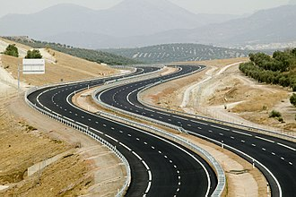 Geometric design of roads - The Autovía del Olivar which unites Úbeda with Estepa in Andalucia in southern Spain. A geometric design saved on construction costs and improved visibility with the intention to reduce the likelihood of traffic incidents