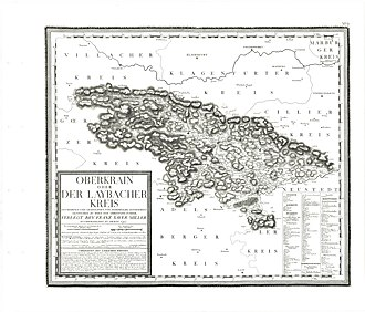 "Upper Carniola - An Austrian map from the late 18th century of ""Upper Carniola a.k.a. District of Ljubljana"""