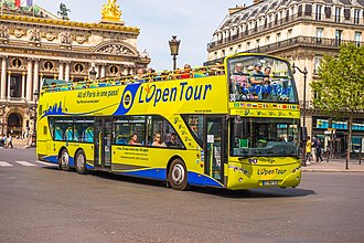 Open top bus - A modern purpose-built open top sightseeing bus in France