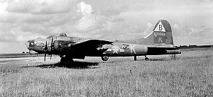 RAF Podington - Lockheed/Vega B-17G-10-VE Flying Fortress Serial 42-39958 of the 92d Bomb Group.  This aircraft suffered severe damage during a mission to Hamburg Germany on 4 November 1944 attacking the Harburg oil complex.  It was written off after it landed safely.