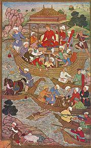Babur crossing the river Son