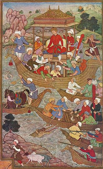 Son River - Image: Babur crossing the river Son