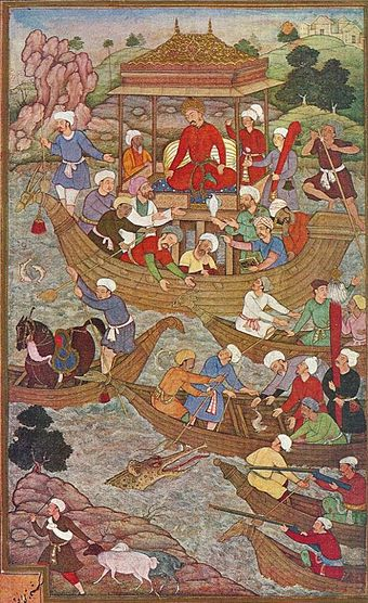 Babur crossing the Son River. The river was the western boundary of the Bengal Sultanate during the Karrani dynasty Babur crossing the river Son.jpg
