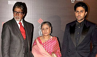 Abhishek Bachchan - Bachchan (right) with his parents Amitabh and Jaya in February 2014