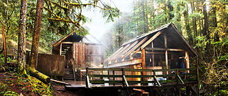 Bagby Hot Springs - The two large bathing decks at Bagby Hot Springs.