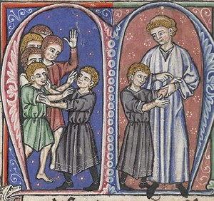 King of Jerusalem - William of Tyre discovers Baldwin's first symptoms of leprosy (MS ofL'Estoire d'Eracles (French translation of William of Tyre's Historia), painted in France, 1250s.British Library, London.)