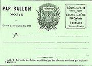 Carte-poste de Paris par ballon monté, 1870-1871