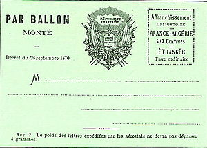 Balloon mail - The address side of a balloon post card from the 1870 siege of Paris during the Franco-Prussian War