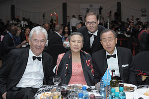 Ban Ki-moon - Left to right: Peter Krämer, Yoo Soon-taek, Jaka Bizilj, and Ban at Sports for Peace in 2010