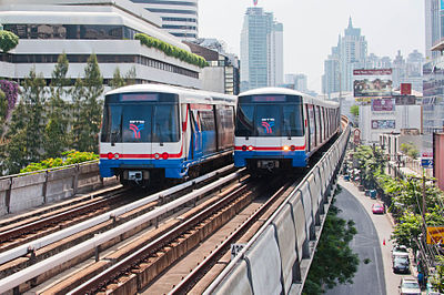 The BTS Skytrain is an elevated rapid transit system in Bangkok Bangkok Skytrain 2011.jpg