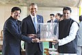 Barack Obama being presented a bust of Mahatma Gandhi, at Rajghat, in Delhi on January 25, 2015. The Minister of State (Independent Charge) for Power, Coal and New and Renewable Energy, Shri Piyush Goyal is also seen.jpg