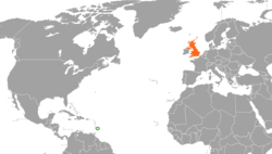 Map indicating locations of Barbados and United Kingdom