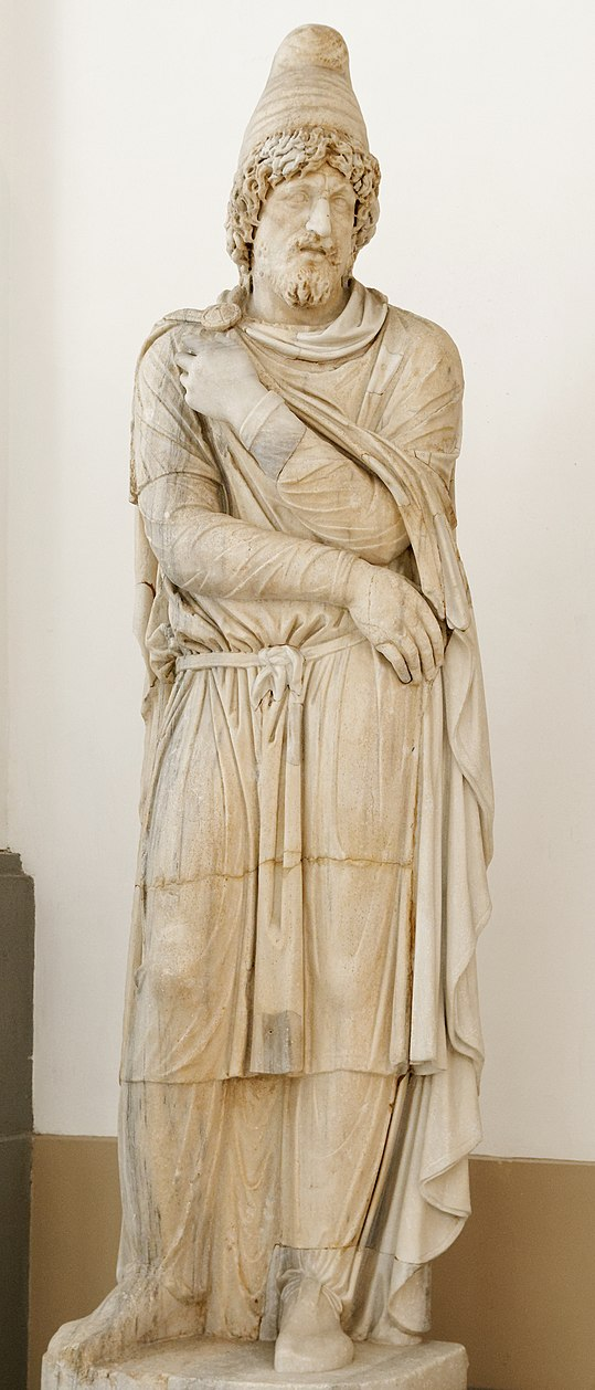 A preconnesian marble depiction of a barbarian. Second century AD.