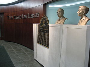 Barco Law Building - George and Yolanda Barco's busts in the Barco Law Library
